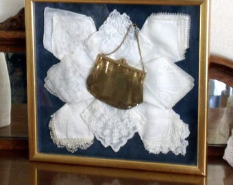 Vintage Shadowbox Whiting & Davis Mesh Purse, Bridal White Lace Vintage Hankies, Professionally Frame, Wedding Gift, Antique