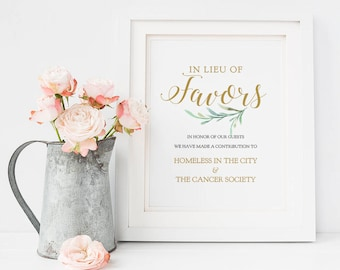 """In Lieu of Favors Sign, Charity Printable Wedding Favour Sign, 8x10"""", Greenery, Printable Wedding Signage. Edit in ACROBAT"""