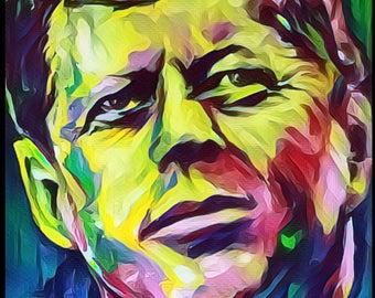 """Reyaz Nadi - John F. Kennedy  """"Xfiles"""" Acrylic on Canvas 48""""x32""""  Framed"""