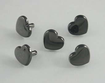 20 sets. Black Heart Rivets Studs Buttons Leathercraft Decorative Rivets 13 mm. HT BL8 SC