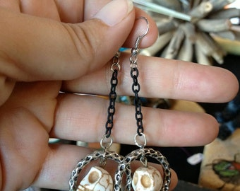Skull Earrings,White Crackled Skulls in silver Loop, Steampunk