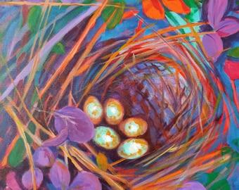 Nest of Prosperity 13 original acrylic nature painting