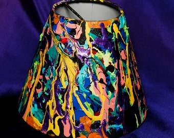 OOAK Neon Bright Small Lampshade or Vase Handpainted