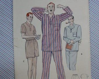 Vintage Pattern c.1950's Butterick No.5546 Men's Pajamas Size Large 42-44  Uncut