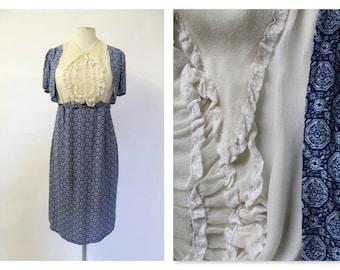 1940's Blue Tea Dress with silk & lace bib Small