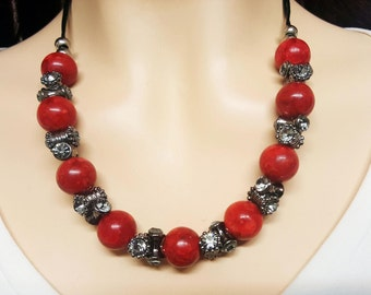 CORAL Black Silver Anniversary Necklace, Coral Birthstone Necklace, Black Diamond Black Silver Necklace, Artisan Coral Necklace, Red Coral