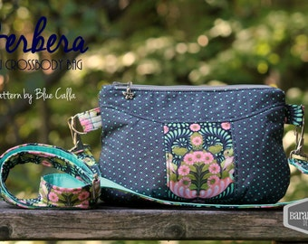 Gerbera small cross body bag made with Slow and Steady Tortoise Turtle by Tula Pink, cross body strap, pouch, purse