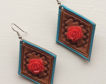 Tooled Leather Earrings with Red Roses