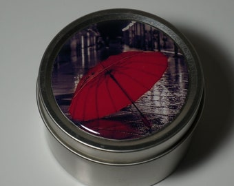 Round Storage Tin Trinket Box Gift Tin Keepsake Box Gift Box Jewellery Box Bits and Bobs Tin Black and White Photography Red Umbrella