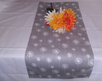 Handmade Table Runner 13W x 25L, Gray/White Dandelion Table Runner, Home Decor, Chic
