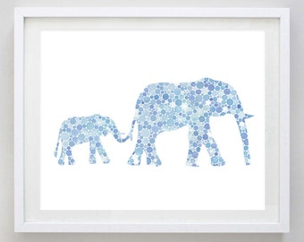 Mamma and Baby Elephant Watercolor Art Print in Blue Circles