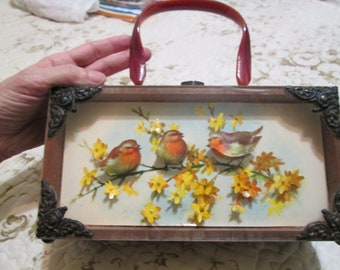 Lovely Vintage 3D Art Diorama Shadowbox Purse with Bakelite Handle Birds & Flowers 1960's