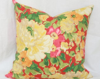 """Red & yellow floral decorative throw pillow cover. 18"""" x 18"""" pillow cover."""