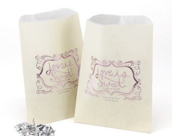 Love Is Sweet Wedding Favor Bags Personalized