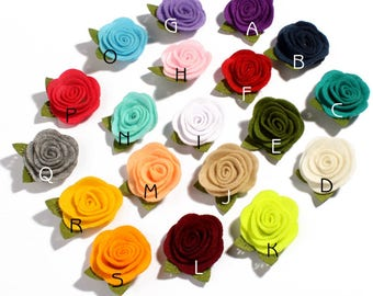 19colors Cute Rolled Rose Hair Flowers for Hair Clips Nonwovens Fabric Flowers with leaves For Kids Hair Accessories For Baby Headband