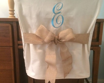 Desk Chair Covers/Monogrammed Single Initial Chair Back Cover / Personalized chair Cover / Design Your Own / One Size Fits Most