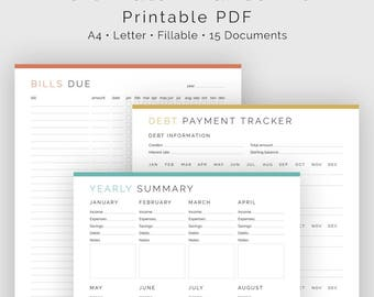 Ultimate Finance Kit (15 Documents) - Fillable - Printable PDF - Bundled Kit - Finance Planner - Home Management - Instant Download