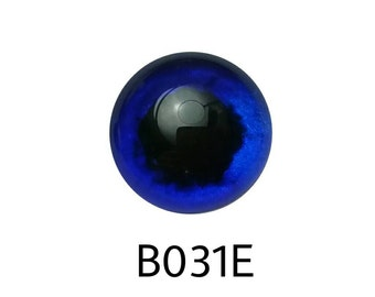 B031E Glass Eye Cabochons, Blue shimmer, hand painted on fused glass, lightfast, durable. Round mottled pupil. Single eye, bird, art doll