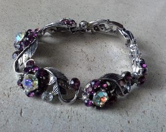 Vintage AB & Burgundy Wine Crystal Silver Tone Flower Bracelet Signed 522 and a Crowned Shield