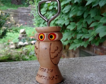 Vintage Wood Owl Bottle Opener