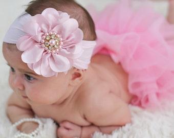 Baby Headband Headwrap, Light Pink Baby Headband, Baby Flower Headband, Big Flower Headband, Flower Girl Headband, Toddler Headband, 827