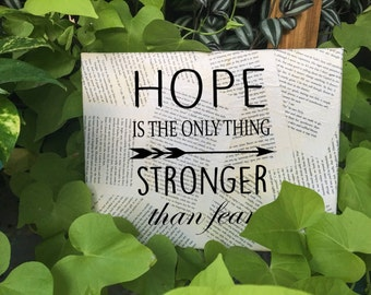 Hunger Games Wall Art - Suzanne Collins - Hope is the only thing stronger - Your choice of quote - Book page Wall hanging - Free Shipping