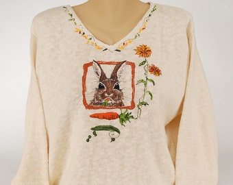 Hand Painted 100% Cotton Sweater 'BUNNY LOVE'design on Natural Sweater