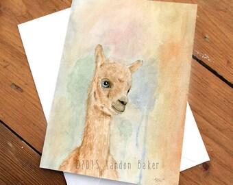 Baby Llama - Watercolor Greeting Card A2 (Pack of 6)