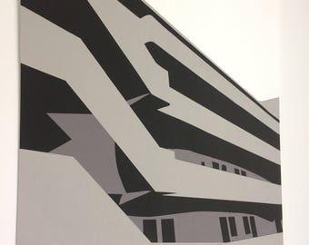 Isokon Building in Grey - Original handcut paper artwork