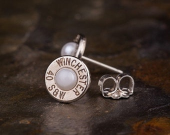Bullet Stud Earrings / Nickel Pearl Stud Earrings / Pearl Earrings / Pearl Stud Earrings / Stud Earrings / Pearl Earrings / Earrings