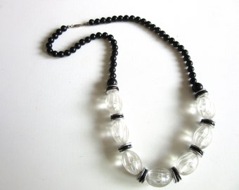 Long Chunky Lucite Necklace Carved Beads Clear & Black 24 Inches