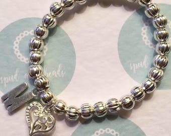 Silver letter bracelet