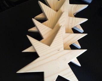 6 Point Wood Stars (set of 4)