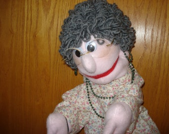Mrs. Pruitt hand puppet woman lady grandma moveable mouth arm rods
