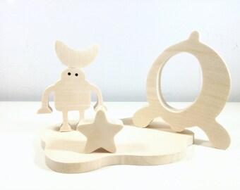 Jouets en bois artisanal pour enfants //  Robot - Etoile - fusée // Idée Cadeau de Noel // Jouet écologique // Made in France