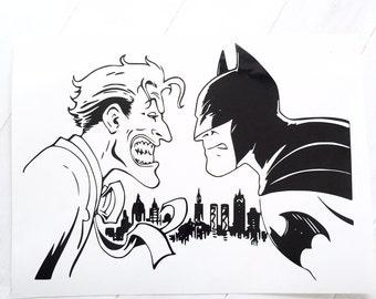 DIY Vinyl Decal Batman vs Joker Choose Vinyl Color, LapTops, Car Windows, Home Decorations, Frame It