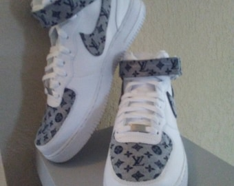 Custom Nike Air Force Ones with designer inspired LVs