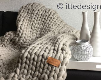 Living Blanket XXL 100% Merino wool light grey/brown/Plaid thick wool chunky knit chunky Knitted
