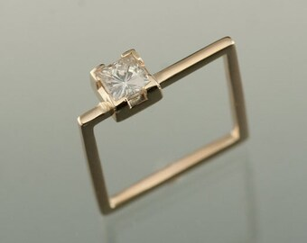 Moissanite Princess Cut 4.5mm 14KT Yellow Gold Square Engagement or Wedding Ring, Square Cut Moissanite 14 karat Yellow Gold Square Ring