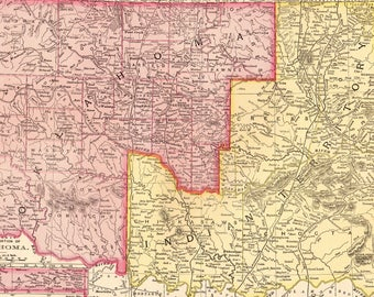 1900 Antique Oklahoma and INDIAN TERRITORY Map Gallery Wall Art Home Decor Gift For Birthday Map Collector Anniversary Wedding 7945