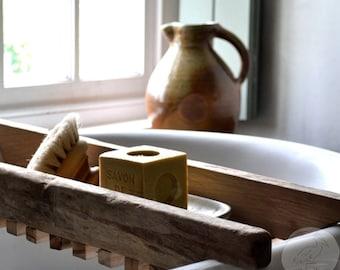 Rustic Bathtub Caddy - Bathtub Tray - Reclaimed wood style Bath Tray - Salvaged Wood style Tub Tray -Farmhouse - Cottage Chic -Bath Decor