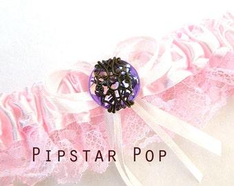 Pink Garter with Wisteria Purple gem - Fantasy fun wedding bridal garter (6 garter color, 12 gem color option) Gothic Victorian