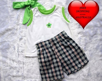 Girls' Short set size 4, Girls' shorts size 4, Toddler short, Navy and white check short, GREAT PRICE only one set.