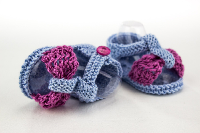 KNITTING PATTERN, Baby Girl Sandal Pattern, Lace Bow Sandal Pattern ...
