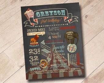 First Birthday Chalkboard Stats Poster Print - Vintage Circus Theme