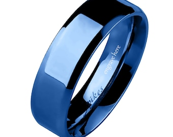 Engraved Blue Beveled Promise Ring Band 6MM