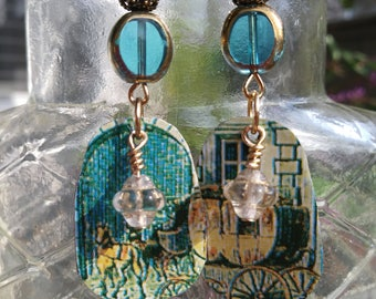 Carriage ride repurposed french cookie tin earrings