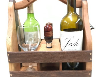 Personalized Wood Beer and Wine Caddy