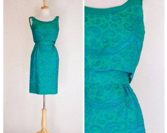 Vintage Dress / 60s Dress / Brocade Dress / Sheath Dress / Mad Men / Sleeveless Dress / Bombshell Dress / Pinup / Wiggle Dress / Size Small