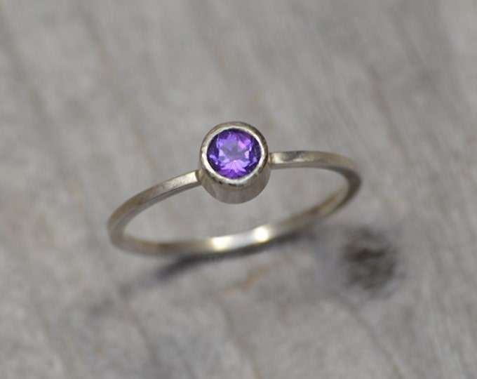 Amethyst Stacking Ring Set In Sterling Silver, Amethyst Solitaire Ring,February Birthstone, Handmade In England